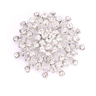 NEW Charming Clear Crystal Snowflake Flower Brooch Pin