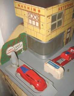Big Antique Wood & Fboard Toy Gas Station 2 Cars 1940s Deco Style
