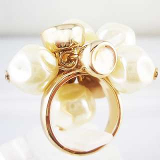 Pearl full head Silver 18K rose gold plated ring R164