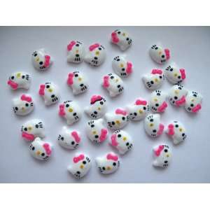 Nail Art 3d 30 Pieces HOT PINK Hello Head Kitty for Nails, Cellphones