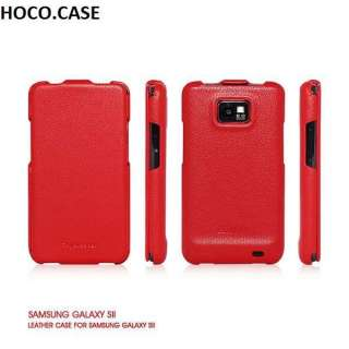 RED Genuine Leather Flip Case Cover for Samsung Galaxy S2 i9100