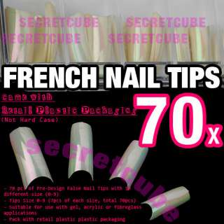 Pearl White Airbrush French Design Acrylic Half False Nail Tips x70