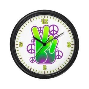 Wall Clock Peace Symbol Sign Neon Hand