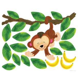 Baby Monkeys Jungle Leafs Vines Monkey Peel & Stick Vinyl Murals
