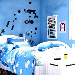 DOLPHIN & FISH ★ MURAL REMOVABLE DECALS WALL STICKER