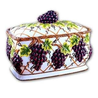 Tuscan vine grape 3 D ceramic bread box toast jar