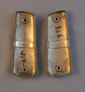 COLT 1911 PISTOL GUN GRIP SET SILVER GOLD OVERLAY HORSES   MEXICO 38