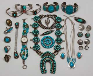 VINTAGE + STERLING SILVER TURQUOISE SOUTHWESTERN NATIVE TRIBAL JEWELRY