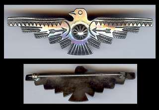 VINTAGE NAVAJO INDIAN STERLING SILVER STAMPED ARROWS & FEATHERS