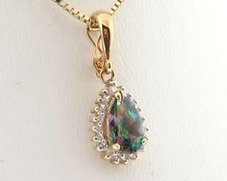 Mystic Topaz Genuine Diamonds Solid 14k Two Tone Gold Pendant