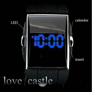 Blue LED Light Date Digital Mens Wrist Black Rubber Band Gift Watches