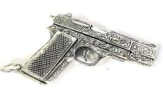 CARVED COLT 45 PISTOL GUN STERLING 925 SILVER PENDANT