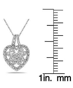 10k White Gold Diamond Filigree Heart Necklace
