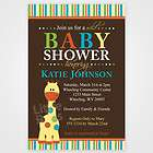 Jungle Safari Giraffe Baby Shower Birthday Invitations   Set of 10