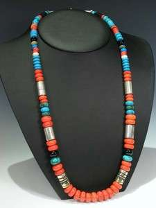 Navajo TOMMY SINGER Red Coral Turquoise 30 Necklace