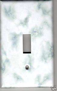 WHITE AND GREY MARBLE PRINT LIGHT SWITCH PLATE COVER