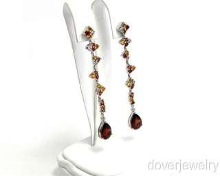 Estate 6.00ct Diamond 10K Gold Garnet Yellow Citrine Long Earrings NR