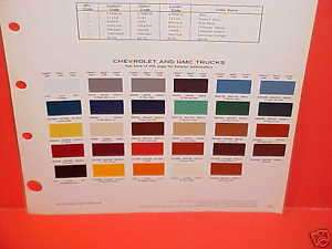 1980 CHEVROLET GMC TRUCK PAINT CHIPS COLOR CHART 80