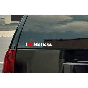 I Love Melissa Vinyl Decal   White with a red heart