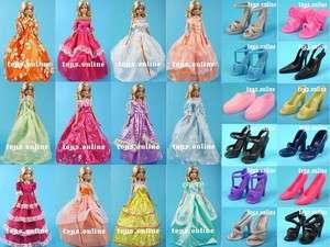 Lot 12 Item Dress + Shoes Clothes Party Gown For Barbie