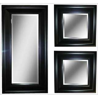 Black Accent Wall Mirror Set of 3