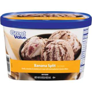 Great Value Banana Split Ice Cream, 48 oz Frozen Foods