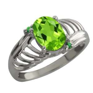 1.19 Ct Oval Green Peridot and Green Diamond Sterling