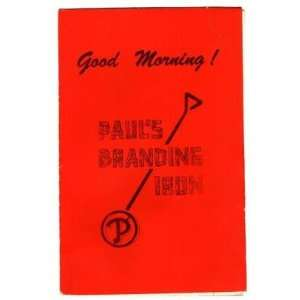 Pauls Branding Iron Breakfast Menu 1979