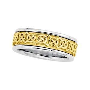 /Yellow/White Gold SIZE 09 1/2 Two Tone Bridal Celtic Band Jewelry