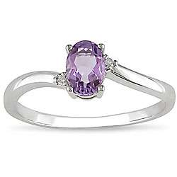 10k White Gold Oval Amethyst Ring