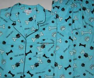 Womens Dog Pajamas Paw Prints Dog Bones Size S M L XL Cotton Flannel