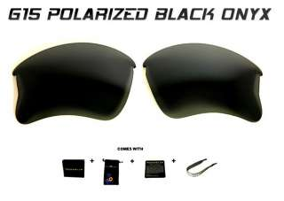 POLARIZED BLACK ONYX G15 LENSES FOR OAKLEY FLAK JACKET XLJ SUNGLASSES