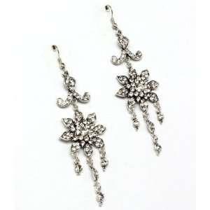 Flower Design Clear Crystal Fashion Earrings Jewelry