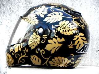 Masei Aloha 881 DOT Motorcycle Helmet BLACK/GOLD M L XL
