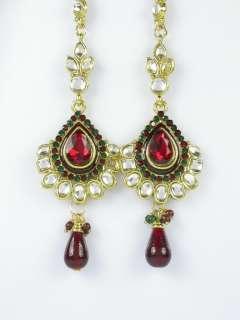 Maroon Green Gold Tone Designer Kundan Bridal Necklace Earring Maang