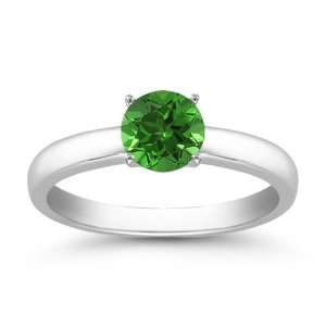 0.55 Carats 5mm Emerald Gemstone Solitaire Ring in 14K