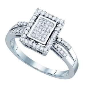 10k White Gold 0.29 Dwt Diamond Micro Pave Set Ring