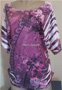 Womens Plus Size Bellezza Clothing Purple 2XL Shirt Top Blouse