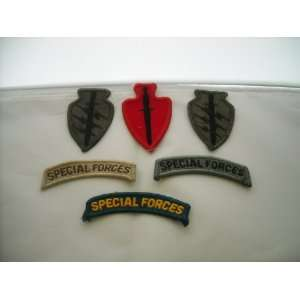 Set of 6 US Army Special Forces Patches & Tabs Everything