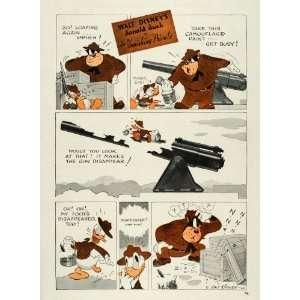 War Donald Duck Gun Paint   Original Color Print