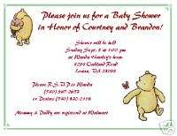 12 Classic Pooh Baby Shower / birthday Invitations