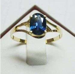Certified natural 1ct oval blue sapphire ring 18K gold