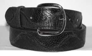 Genuine Exotic Black Ostrich Leg Skin & Leather Belt