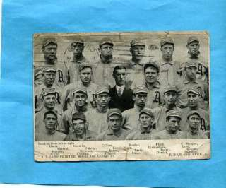 1911 Philadelphia Athletics Team Post Card Plank Baker
