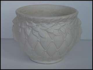 Vintage McCoy Art Pottery Quilt Berry Leaf Matte white Jardiniere