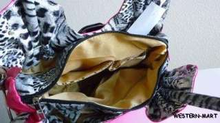 NEW HOT PINK BLACK LEOPARD CHEETAH FLOWER FLORAL PETAL BLING PURSE
