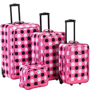 Rockland Fashion 4 Piece Luggage Set, Pink with White Dots Luggage