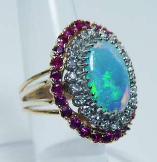 Giant Vintage Gem Opal Ruby Diamond Ring 14K Gold 15gr HEAVY Estate