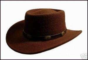 BROWN WOOL FELT WESTERN HAT GAMBLER STYLE COWBOY HATS