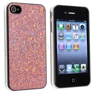 Glitter Rear Hard Case Cover For iPhone 4 G 4S Light Purple+Hot Pink